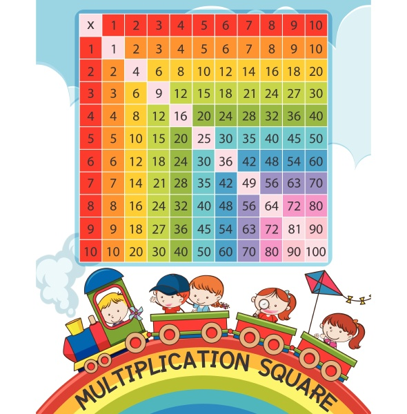 multiplication square with rainbow and children