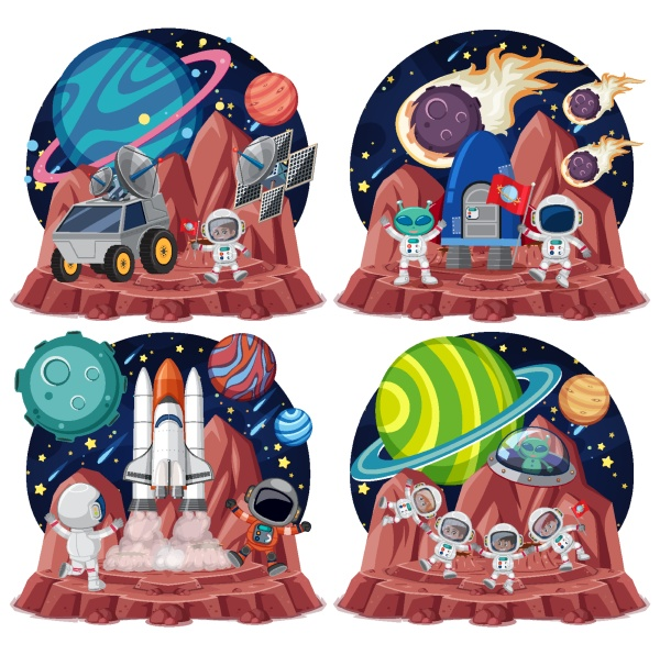 set of space themes with astronauts