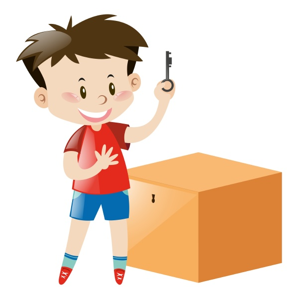 boy in red holding key of