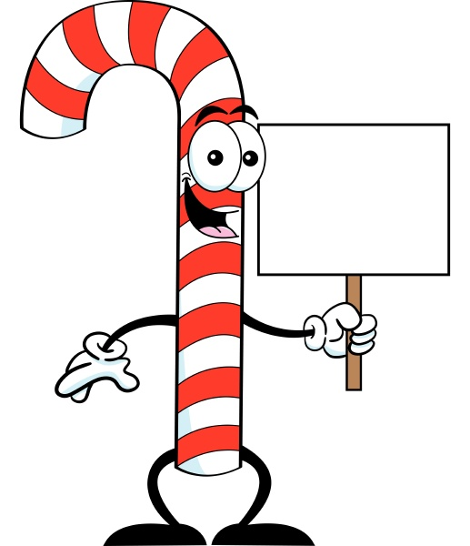 cartoon illustration of a candy cane
