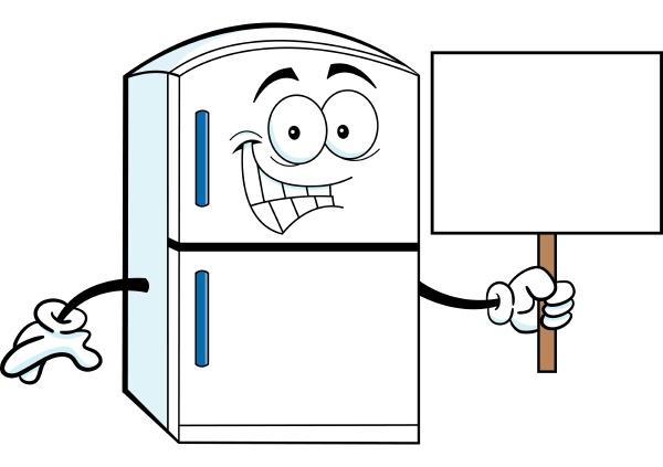 cartoon illustration of a refrigerator holding