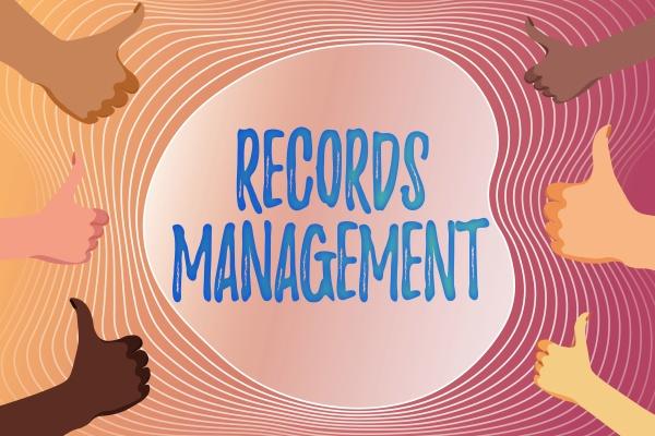 conceptual caption records management word written