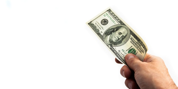 a hundred dollar bill in his