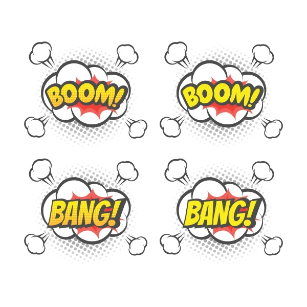 boom and bang explosion colorful vector