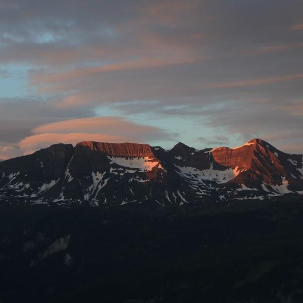moody morning sky over a mountain