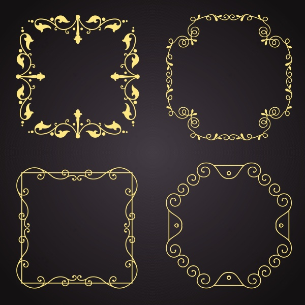 collection of gold decorative borders