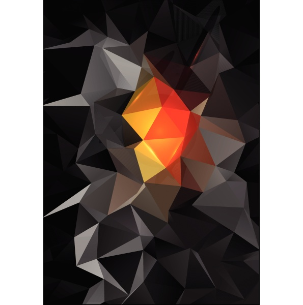 black and orange low poly abstract