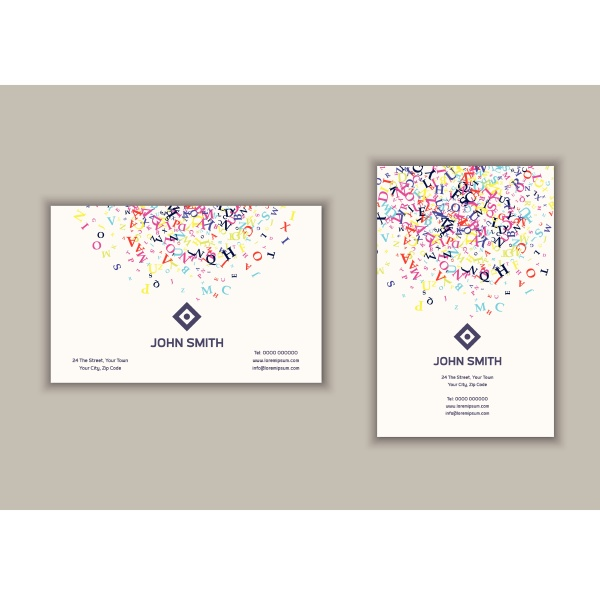 business card with abstract letters design