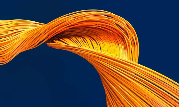 fiber optic cables orange color on