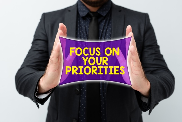 text caption presenting focus on your