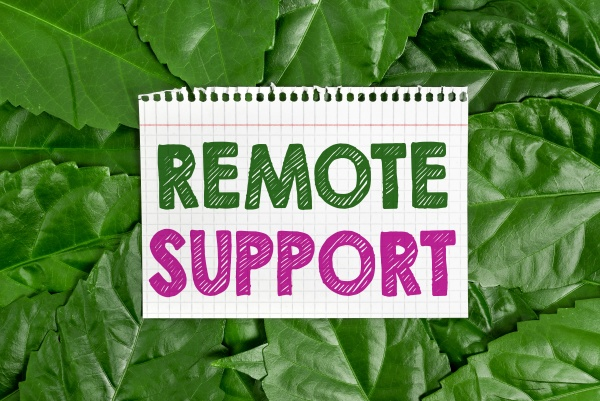 hand writing sign remote support business