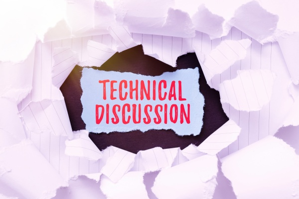 text sign showing technical discussion business