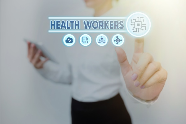 text sign showing health workers conceptual