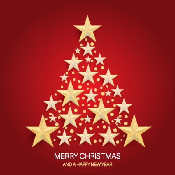 christmas tree design of gold stars