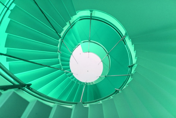 helical staircase in a sophisticated building