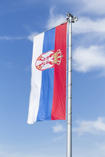 flag of serbia waving in the