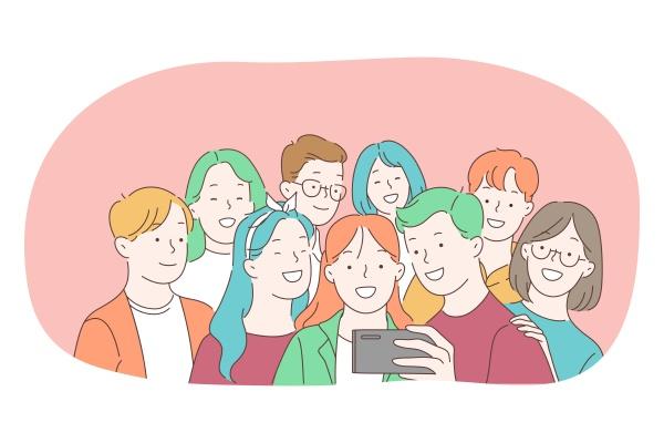 selfie smartphone photograph camera vector illustration