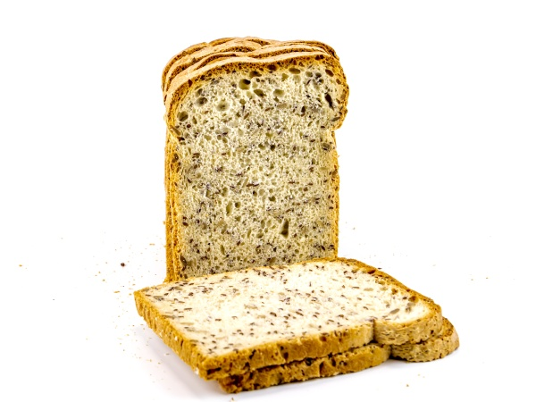 sliced bread with flax seeds on