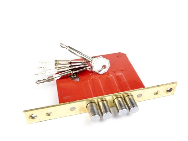 door lock with keys on a