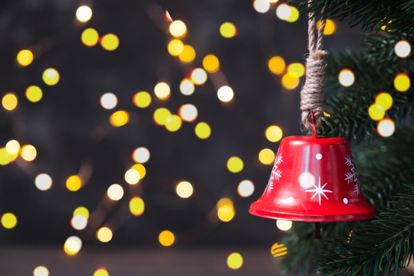 christmas composition with a red bell
