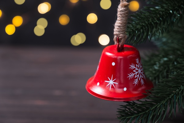 christmas composition with red bell on