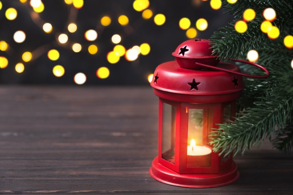 christmas composition with red lantern and