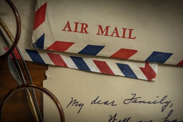 vintage letters and eyeglasses