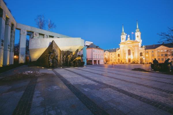 poland masovia warsaw town square with