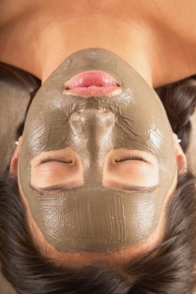close up of woman with facial