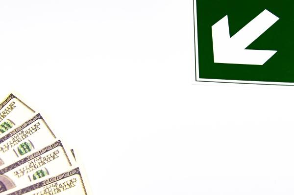arrow indicates money on a white