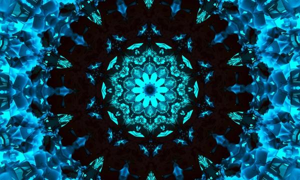 smart blue circular ornament in the