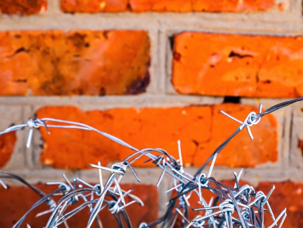 barbed wire on a background of