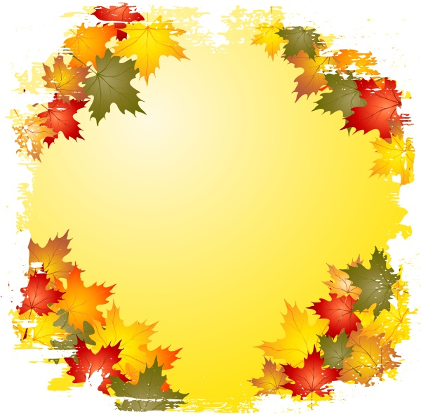 grunge autumn leaf border