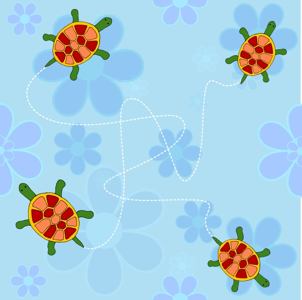 flowers and turtles