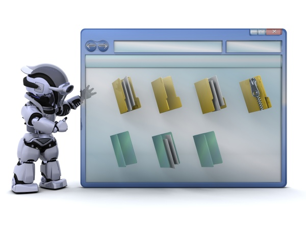 robot with computer window and folder