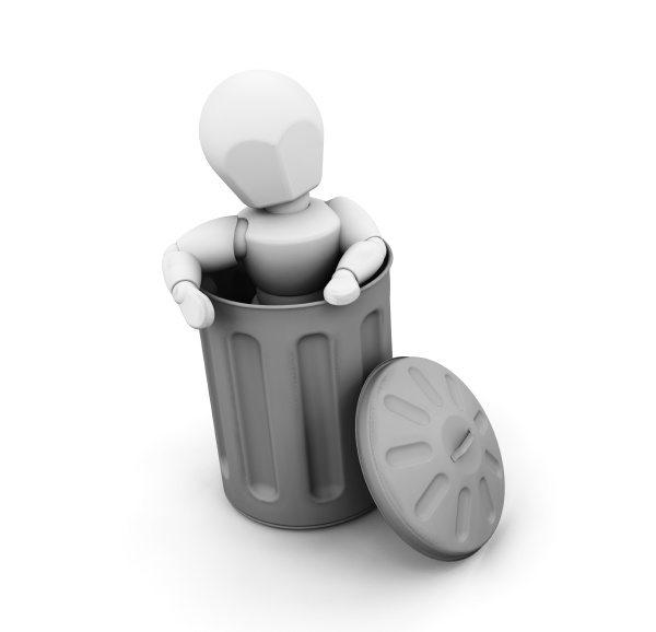 person in trash can