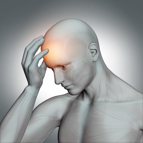 3d male figure holding head
