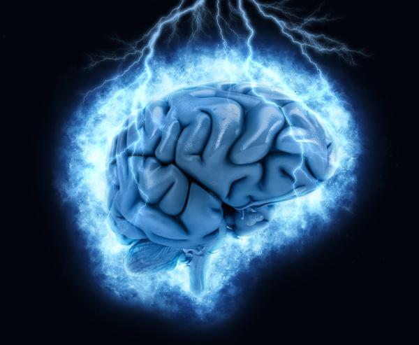 3d brain with exploding lightening effect