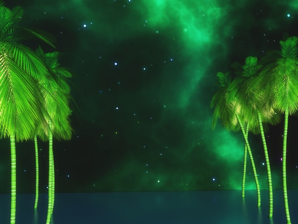 3d palm trees against a space