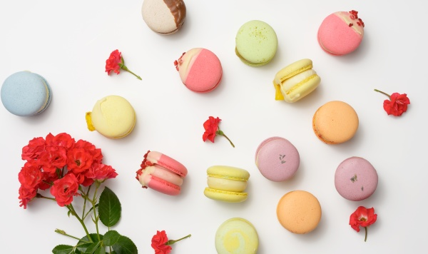 baked macarons with different flavors and