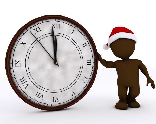 3d santa morph man with clock