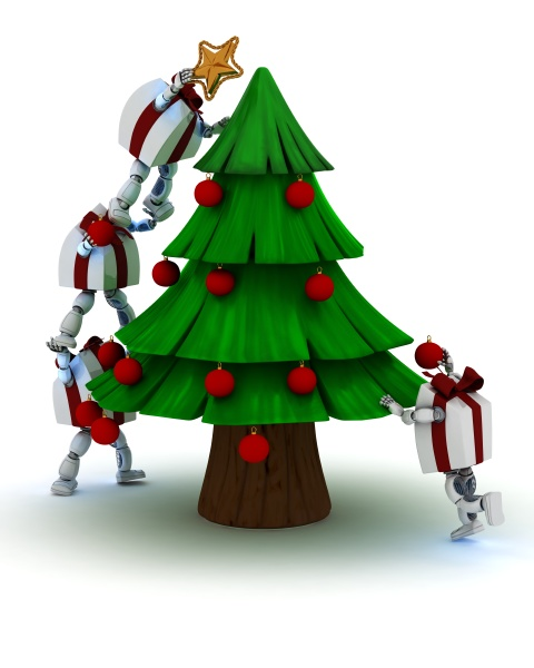christmas gift characters decorating the tree
