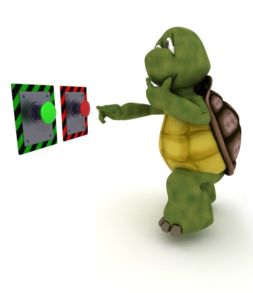 tortoise deciding which button to push