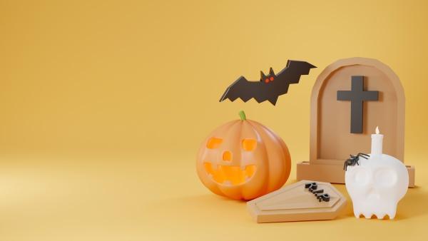 cute gravestone pumpkin ghost candle on