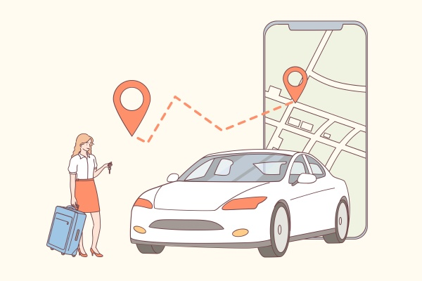 car sharing application online renting concept