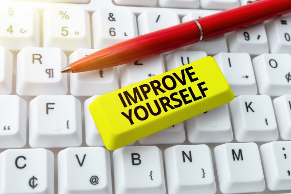 text showing inspiration improve yourself word