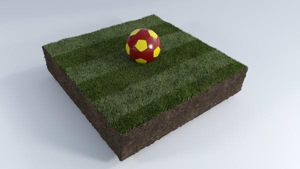 3d soccer ball on grass patch