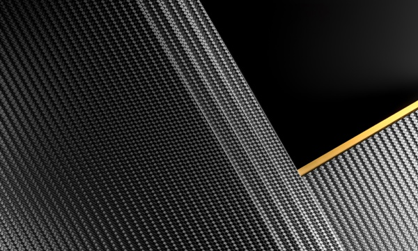 carbon fiber background with gold element
