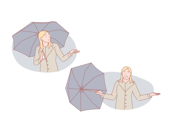 people woman girl female rain set
