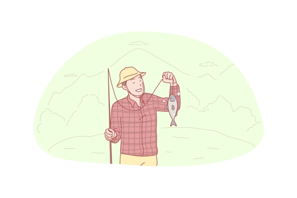 fisherman fishing catch hooby concept